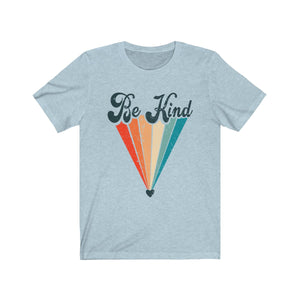 (Soft Unisex Bella) Be Kind Retro Heart Rainbow-T-Shirt-Ellas-Canvas-DesIndie