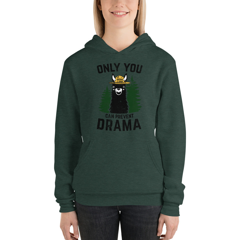 (Unisex Bell Hoodie) Only You Can Prevent Drama Llama - Smokey Bear Parody