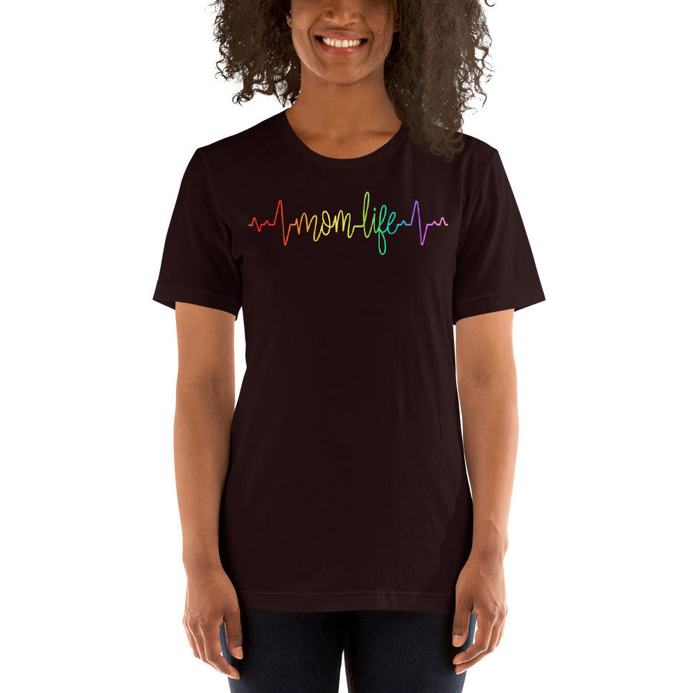 (Soft Unisex Bella) Heartbeat Pulse - Mom Life (rainbow font)