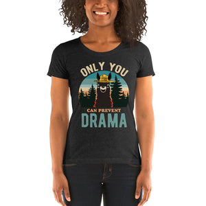 Ladies' short sleeve t-shirt - Only You Can Prevent Drama Llama Sunset Original Smokey Bear Parody-Ellas-Canvas-DesIndie