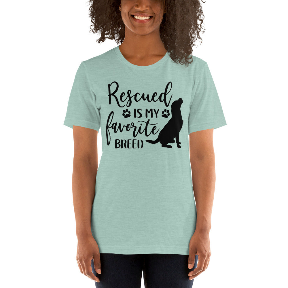 (Soft Unisex Bella - Heather Deep Teal, Orchid, Dusty Blue, Forest) Rescued is my favorite breed