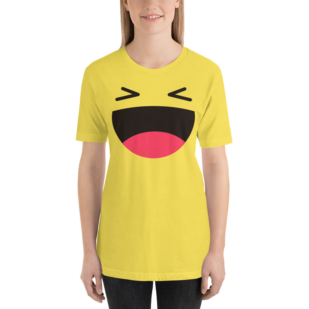 (Soft Unisex Bella) Laughing Smile Open Emoji-Ellas-Canvas-DesIndie