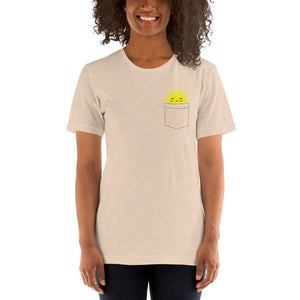 (Soft Unisex Bella) Fake Pocket Smiley Sunshine
