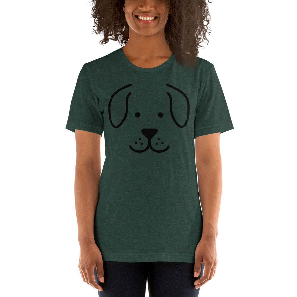 (Soft Unisex Bella - Heather Deep Teal, Orchid, Dusty Blue, Forest) Dog Face