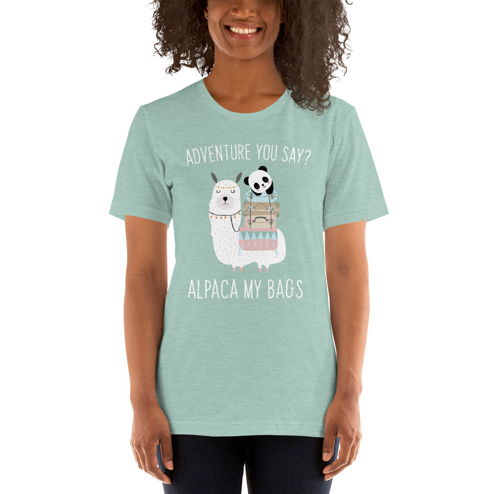 (Soft Unisex Bella - Heather Prism Dusty Blue) Adventure you Say? Alpaca (I'll Pack) My Bags
