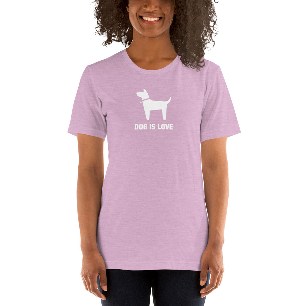 (Soft Unisex Bella - Heather Deep Teal, Orchid, Dusty Blue, Forest) Dog is Love