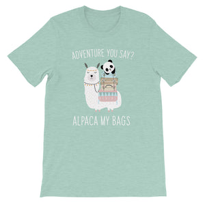 (Soft Unisex Bella - Heather Prism Dusty Blue) Adventure you Say? Alpaca (I'll Pack) My Bags-Ellas-Canvas-DesIndie