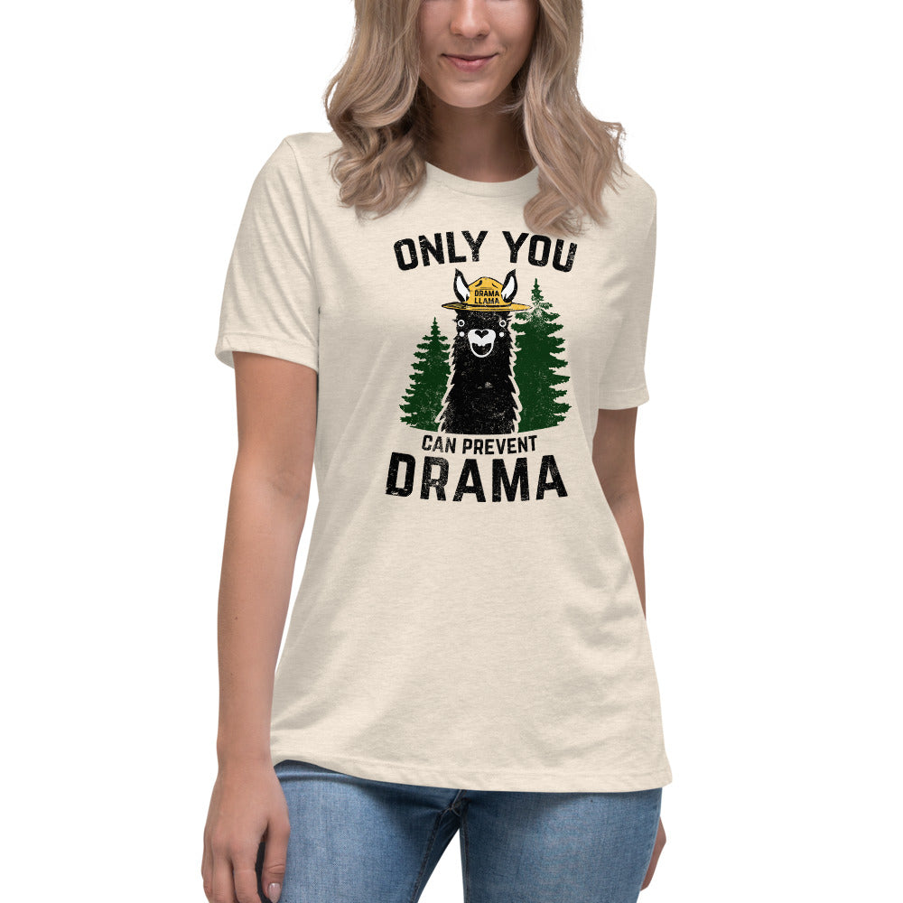 (Women's Relaxed Jersey Bella) - Only You Can Prevent Drama Llama Smokey Bear Parody