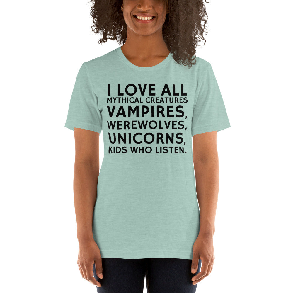 (Soft Unisex Bella - Heather Deep Teal, Orchid, Dusty Blue, Forest) Love All Mythical Creatures