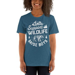 (Soft Unisex Bella - Heather Deep Teal, Orchid, Dusty Blue, Forest) Support Wildlife Raise Boys Bear (white)