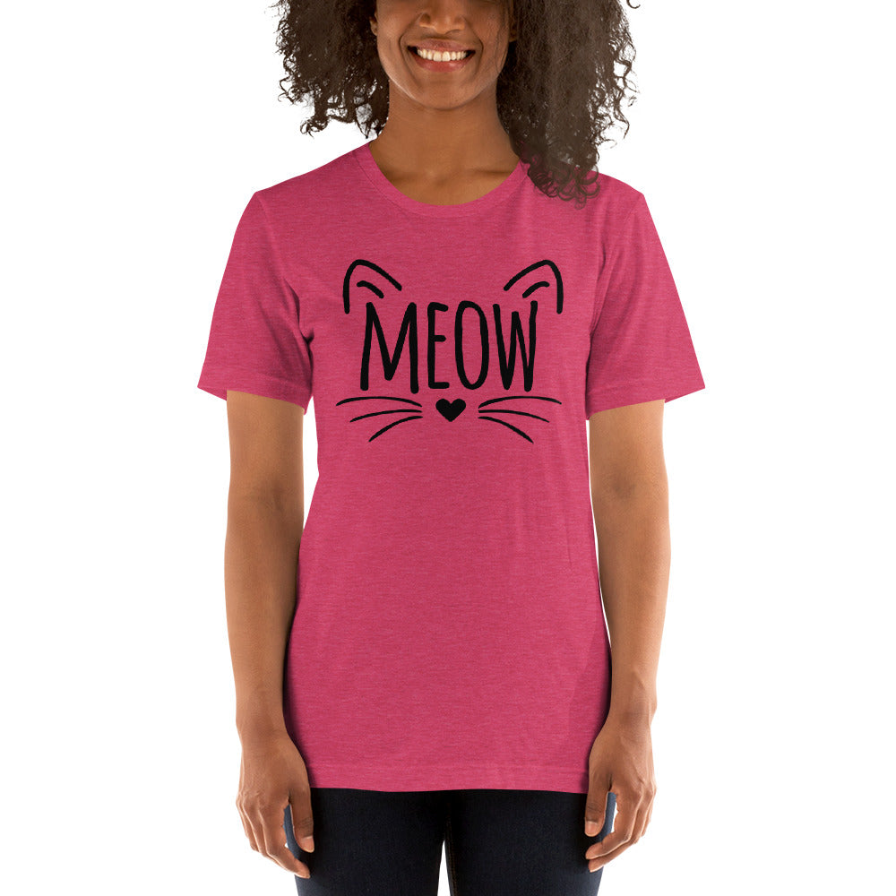 (Soft Unisex Bella) Meow Face Heart Nose Whiskers (black)