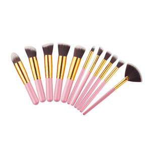 10 Pcs Silver/Golden Makeup Brush Set
