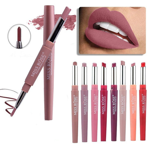 8 Color Double-end Waterproof Matte Lip Makeup Lipstick Pencil