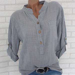 Womens Cotton Linen Stand Collar Shirt Clothing Plus Size 5XL White Solid Pocket Womens Shirts 2020 Spring Loose Clothes Female