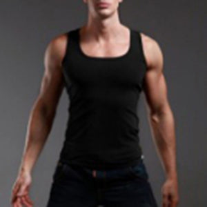 Men's Close-fitting Vest Fitness Elastic Casual Square collar Breathable H Type All Cotton Solid Undershirts Male Tanks