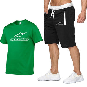2020 Fashion t-shirt Shorts Set Men Summer 2pc Tracksuit+Shorts Sets Beach Mens Casual Tee Shirts Set Sportswears