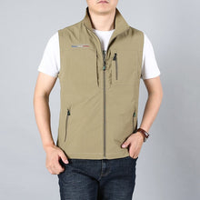 Load image into Gallery viewer, MAIDANGDI Men's Waistcoat  Jackets Vest 2020 Summer New Solid Color Stand Collar  Climbing Hiking Work Sleeveless With Pocket