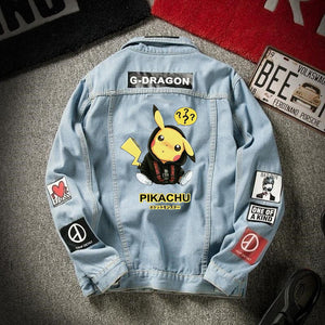 2020 denim jacket men's spring and autumn Korean student trend Pikachu denim men's autumn loose casual jacket