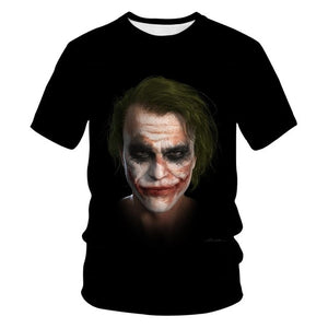 New clown summer flame 3d T-shirt  printed short sleeved T-shirt men round neck T-shirt women and men3D harajuku T-shirt 5XL