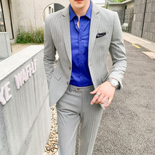 Load image into Gallery viewer, Autumn and winter fashion youth business leisure stripe suit men's slim men's suit two piece suit