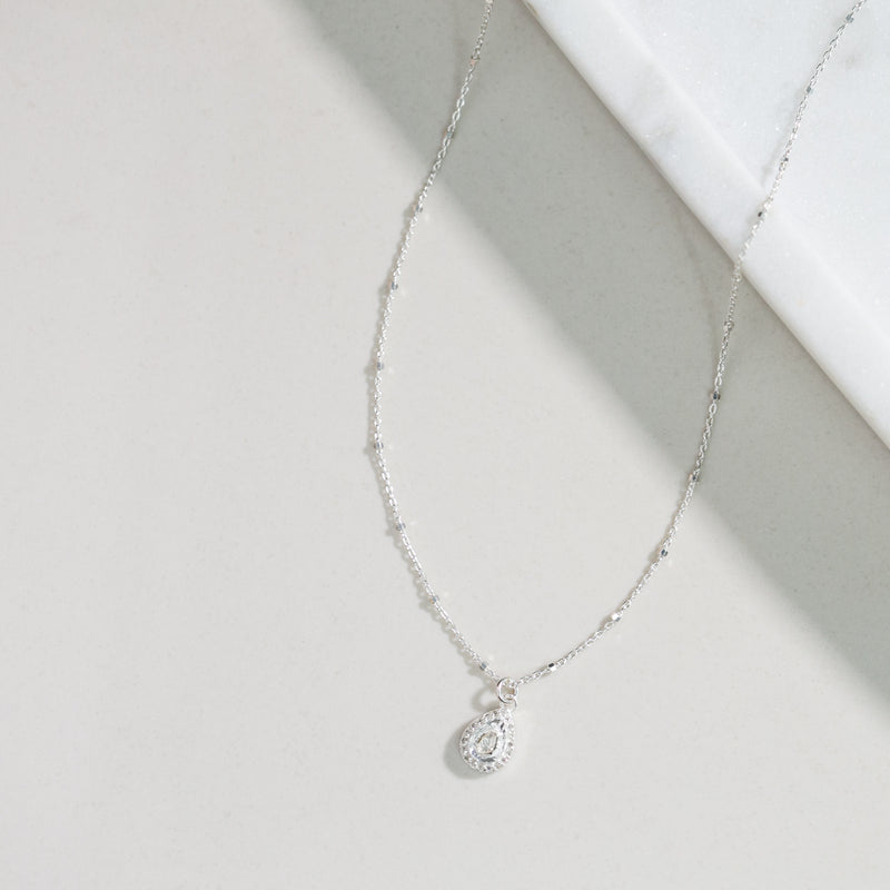 Remy Polki Tear Necklace (silver)