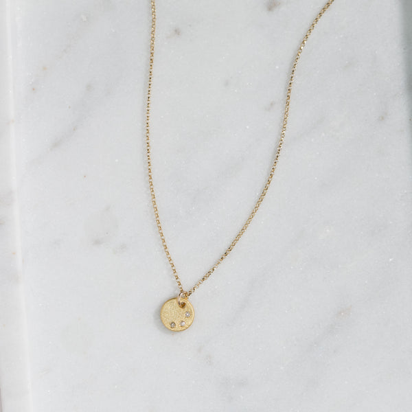 Remy Diamond Disc Necklace (gold)