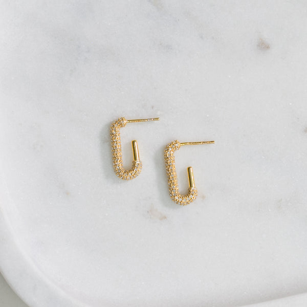 Diamond Comma Hoop Earrings (gold)