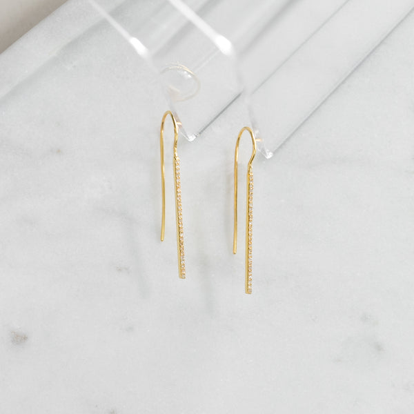 Diamond Bitsy Bar Earrings (gold)