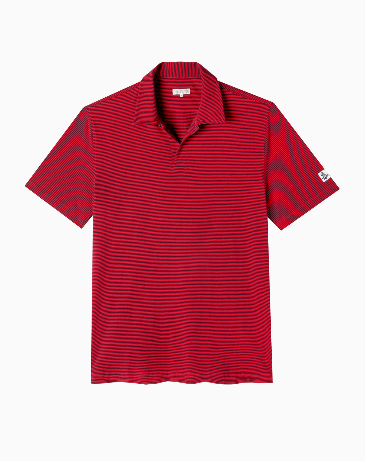 Fine Stripe Polo in Red/Navy