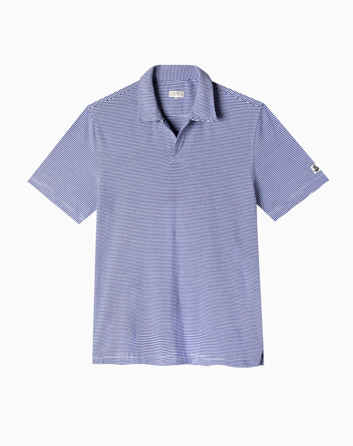 Polo in Mid-Blue/White Stripe