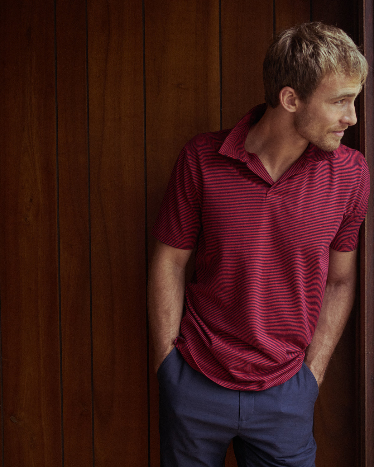 Fine Stripe Polo in Red/Black