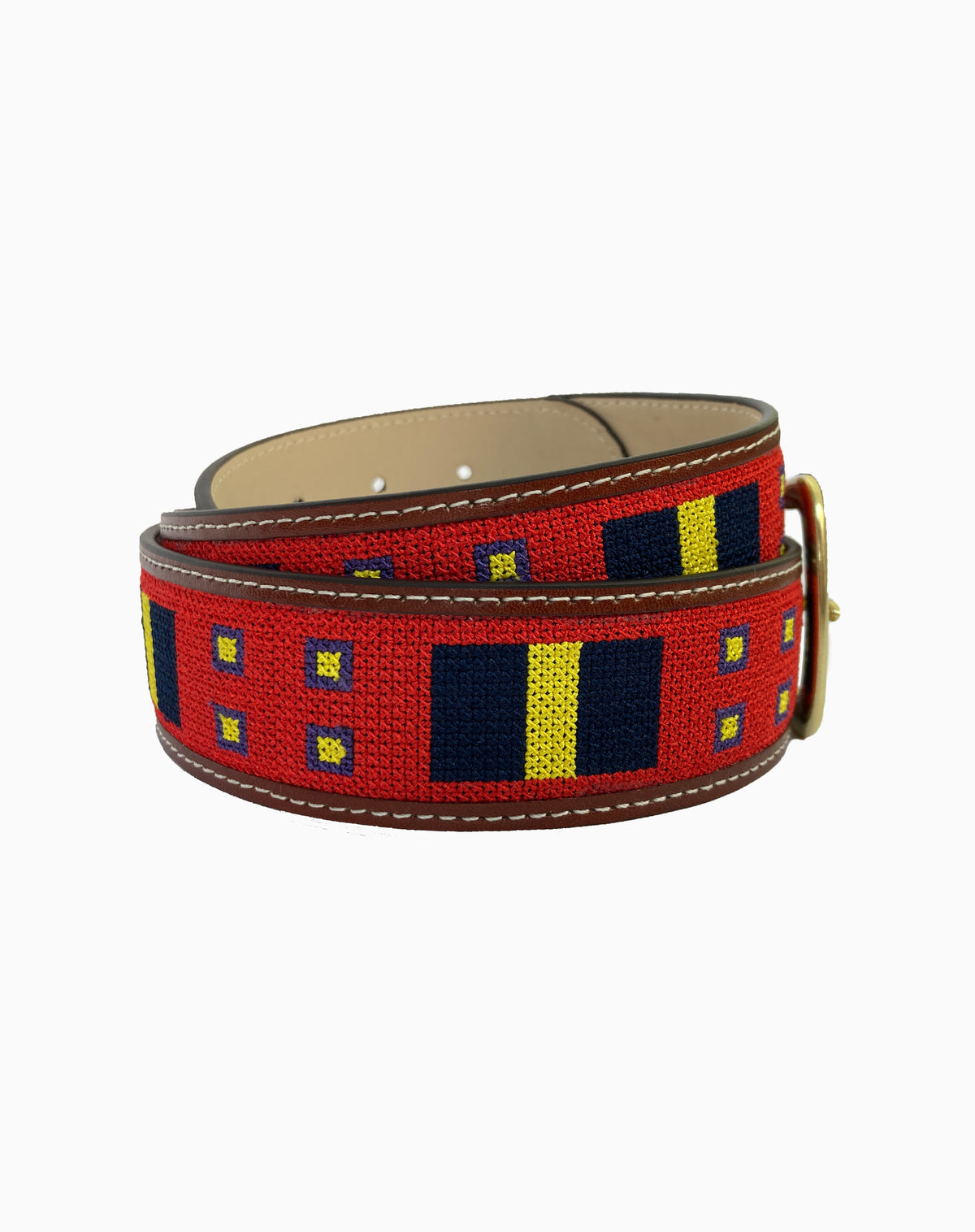 Embroidered Belt in Geometric Print