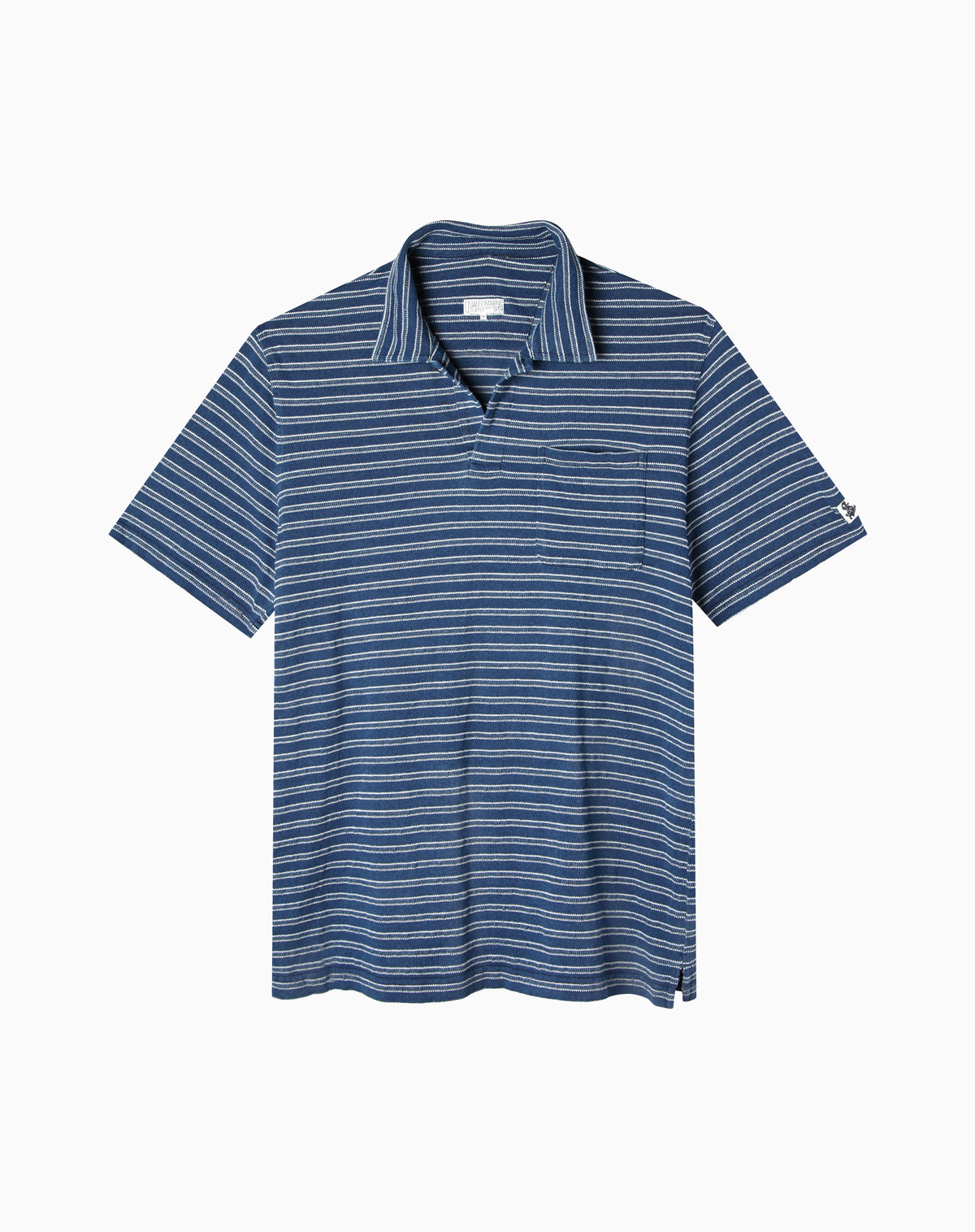 Indigo Jacquard Stripe Polo in Mid Wash