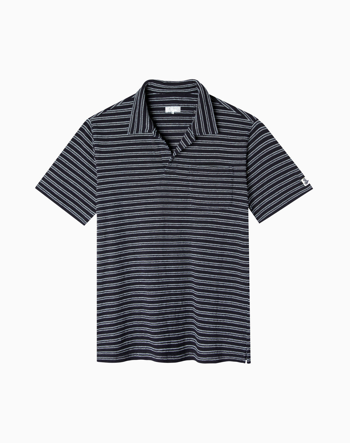 Indigo Jacquard Stripe Polo in Dark Wash