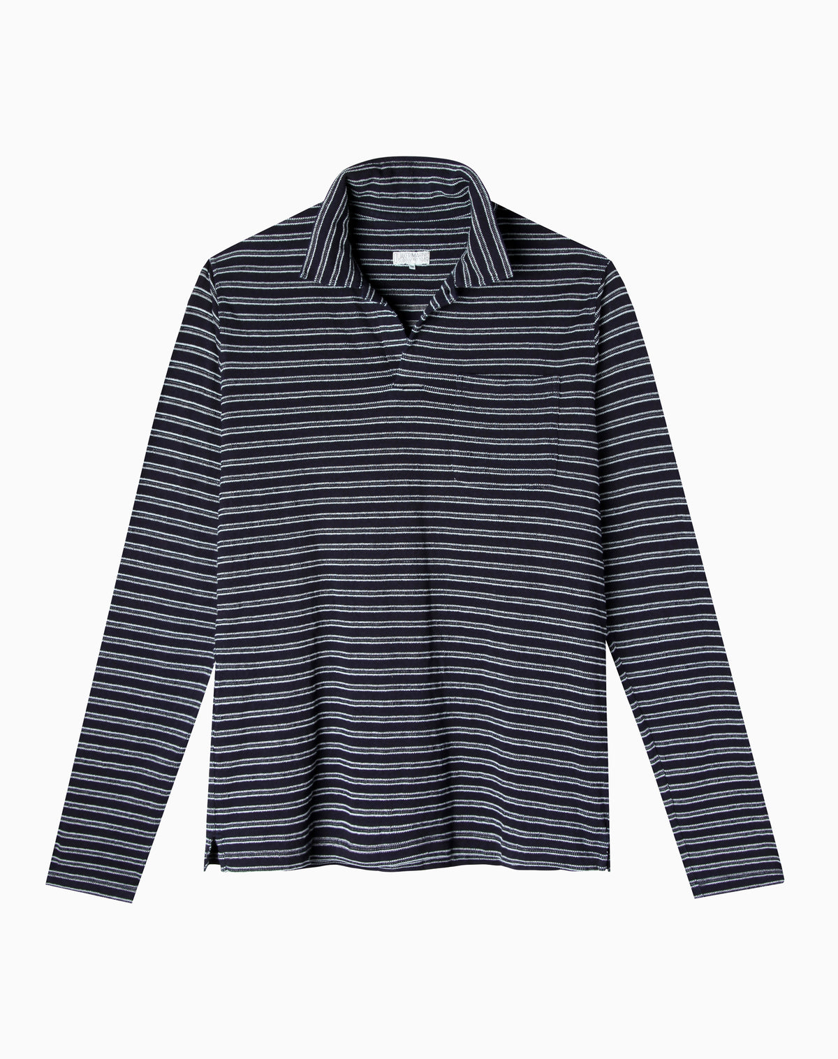 Long Sleeve Indigo Polo in Dark Wash Jacquard Stripe
