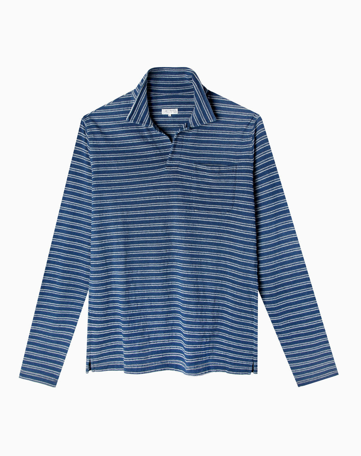 Long Sleeve Indigo Polo in Mid Wash Jacquard Stripe