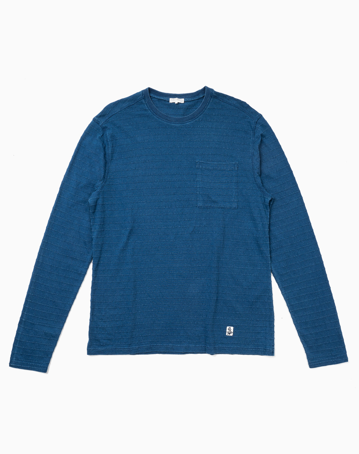 Long Sleeve Indigo Tee in Tonal Jacquard Stripe