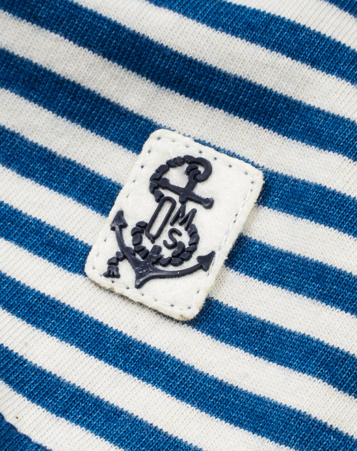 Long Sleeve Indigo Polo in Blue/White Stripe