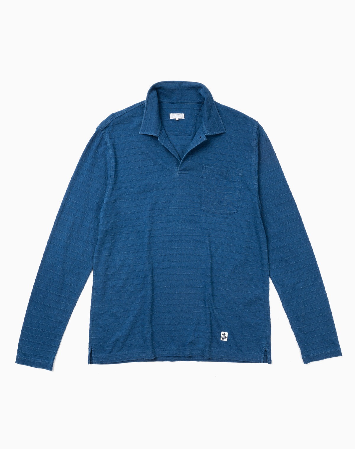 Long Sleeve Indigo Polo in Tonal Jacquard Stripe