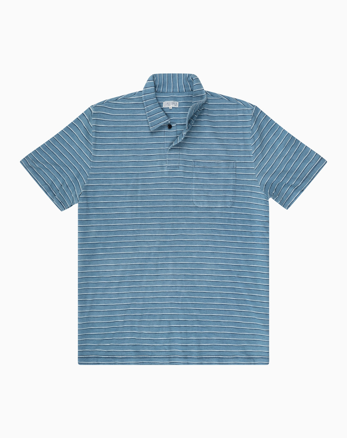 Indigo Polo in Light Wash Stripe