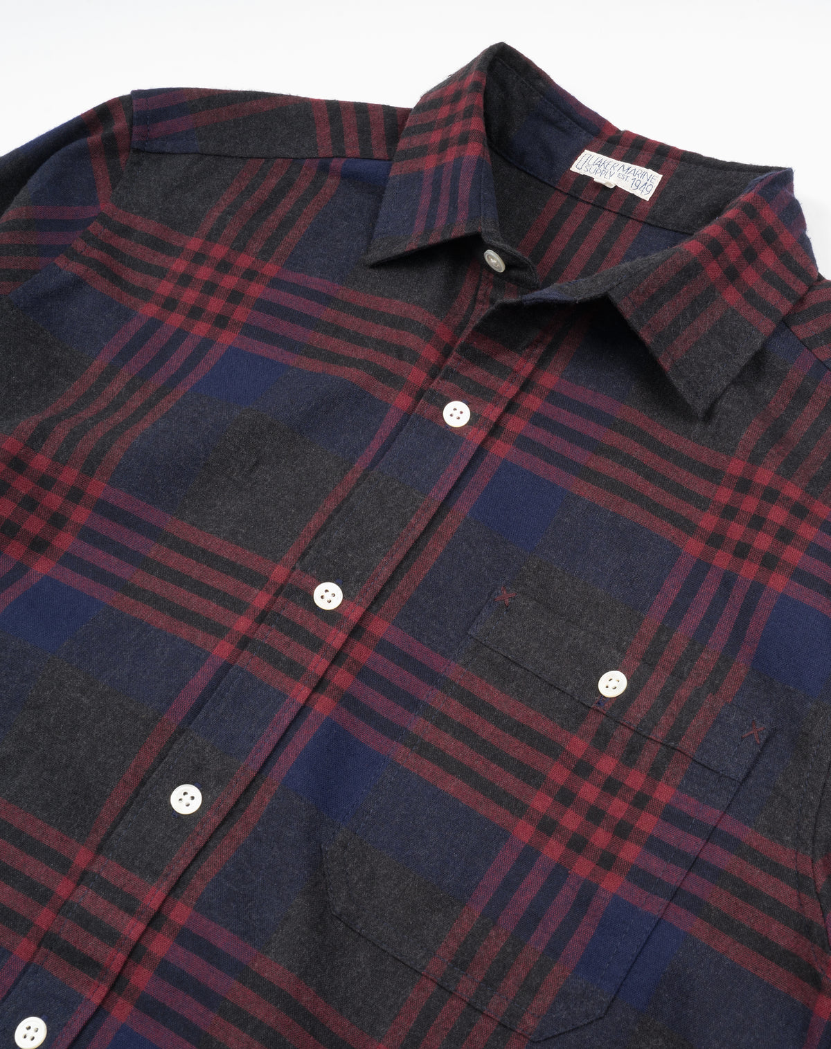 Bangor Flannel in Ink/Heather Burgundy
