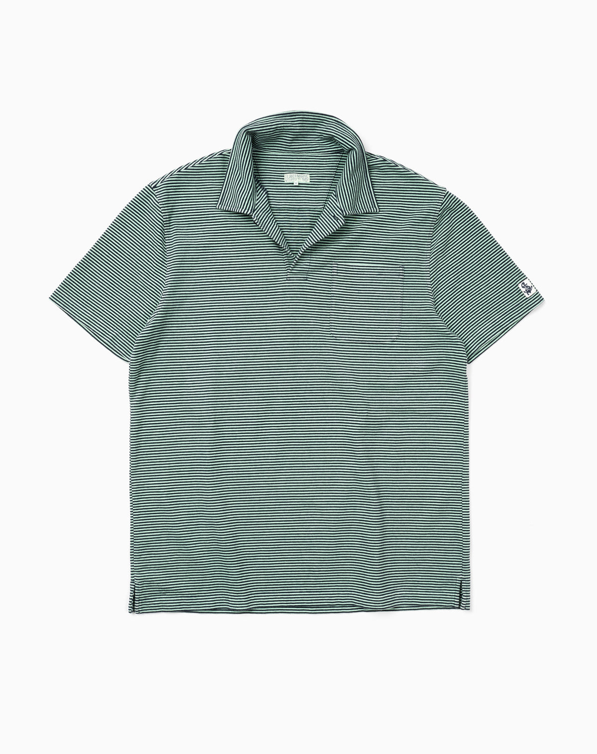 Garment-Dyed Fine Stripe Polo in Green/Navy