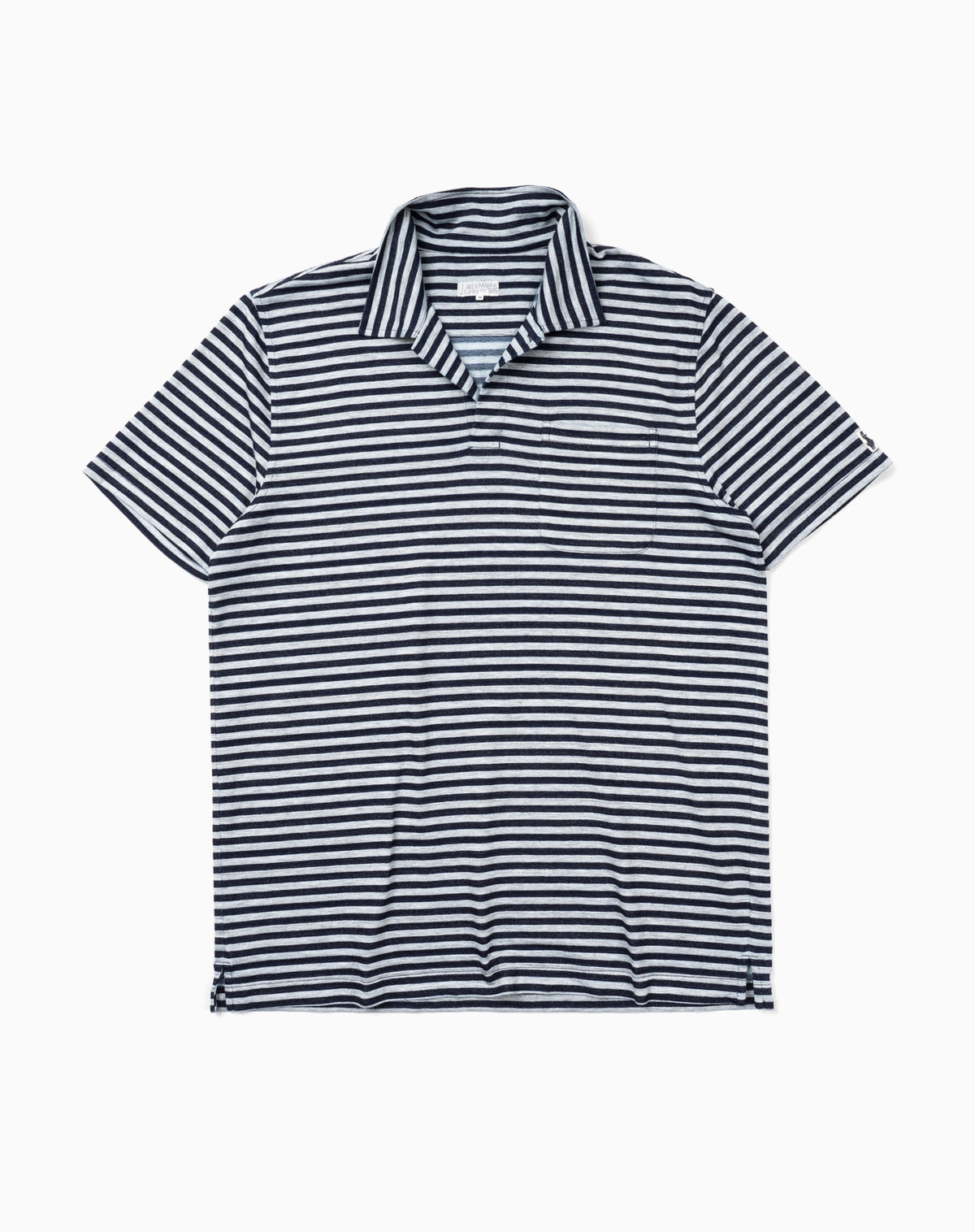 Medium Stripe Polo in Grey/Navy