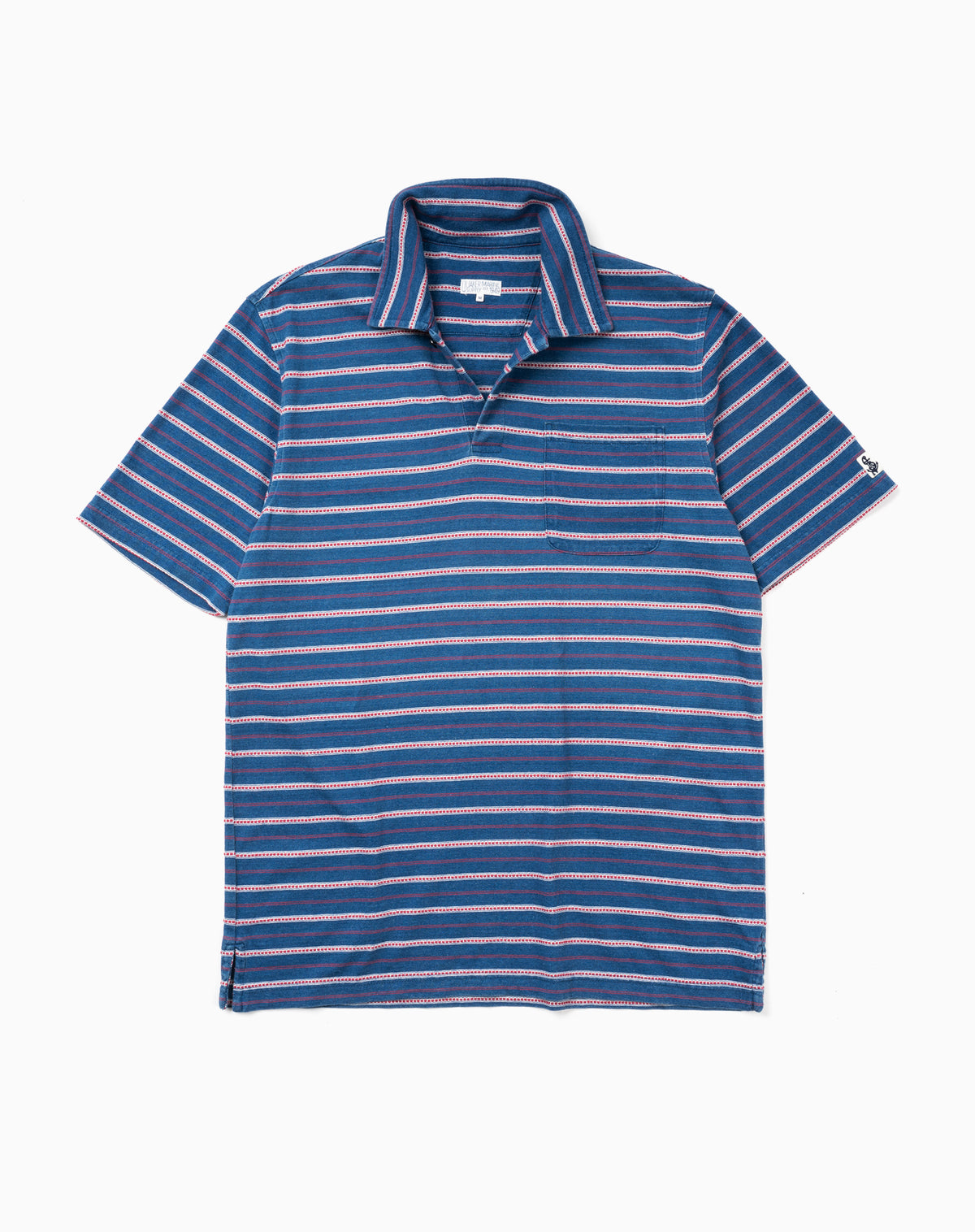 Indigo Polo in Red/Navy Jacquard Stripe