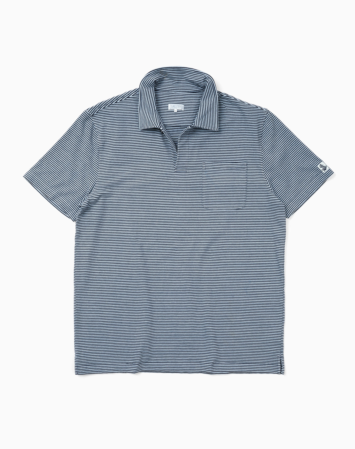 Garment-Dyed Stripe Polo in Blue/Navy