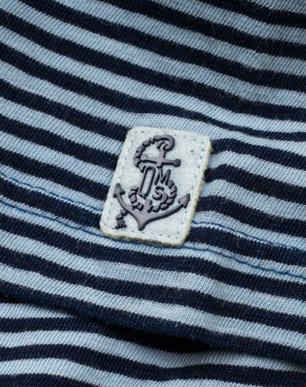 Garment-Dyed Fine Stripe Polo in Blue/Navy