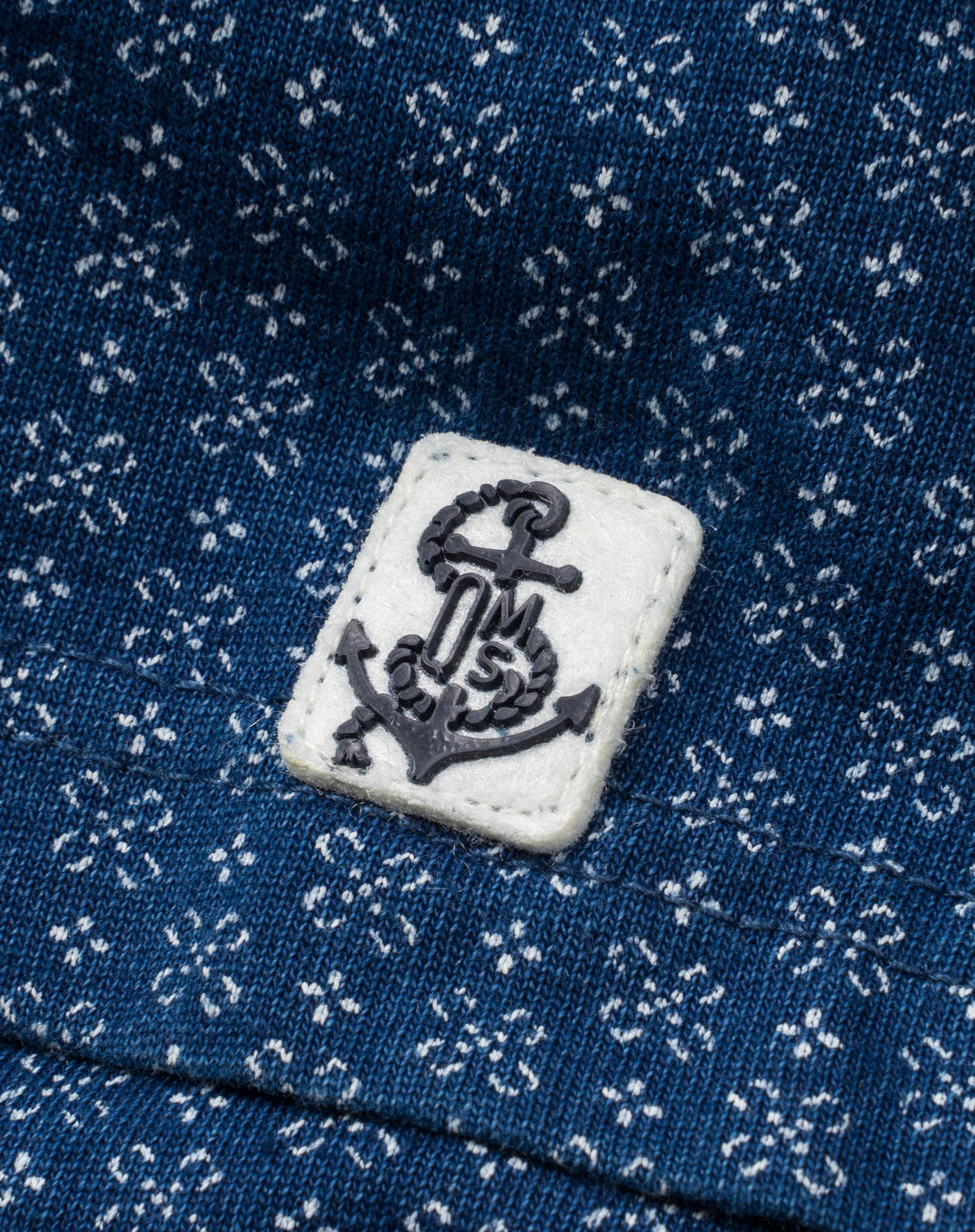 Indigo Polo in Printed Jersey