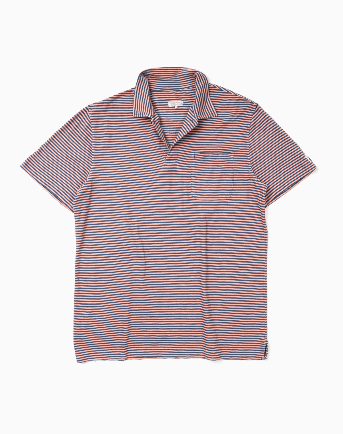 Garment-Dyed Stripe Polo in Coral/Blue