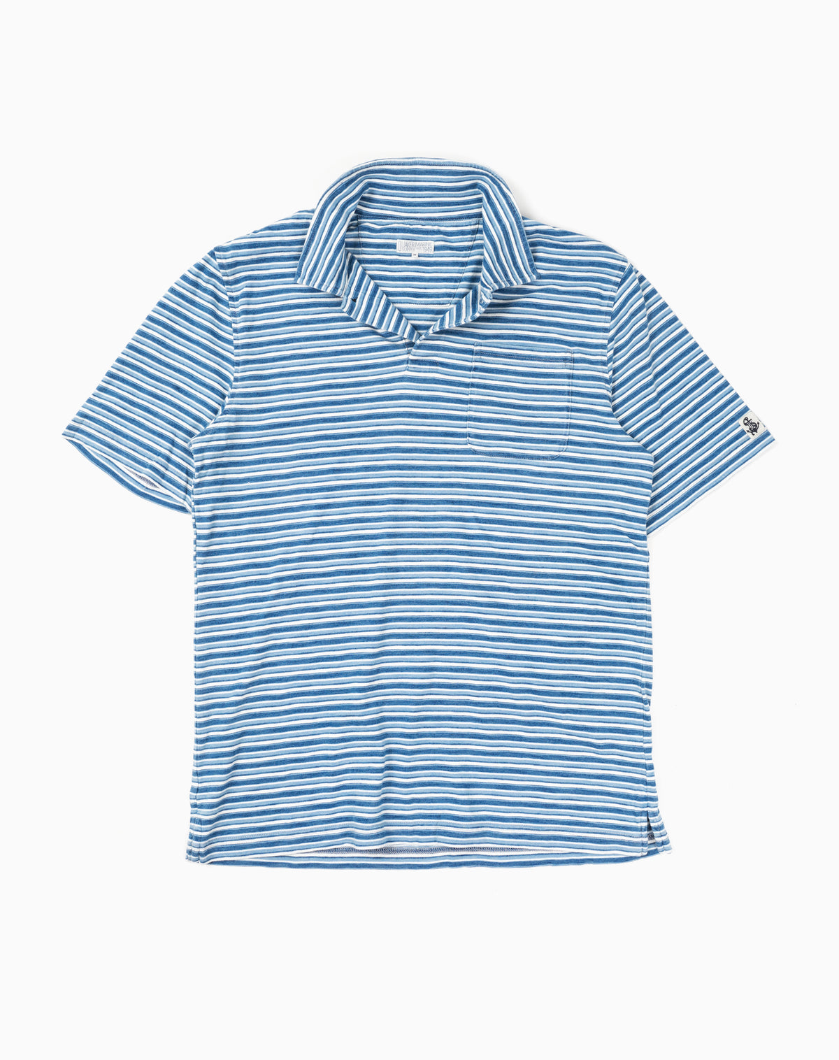 Indigo Polo in Multi-Blue Stripe
