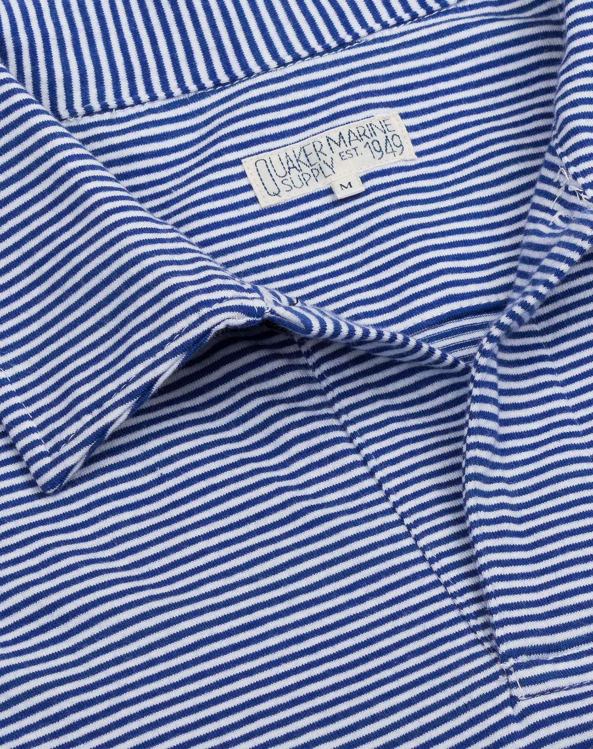 Fine Stripe Polo in Mid-Blue/White